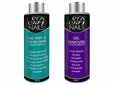 Nail Gel Polish Prep + And Wipe & Remover Manicure Acetone Soak Off UV LED 250ml
