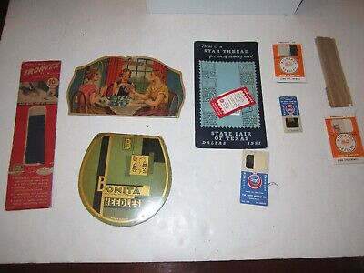 LOT OF VINTAGE SEWING NEEDLES WITH ADVERTISING - NICE ASSORTMENT - TUB FP