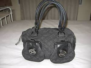"Mimco ""Castaway"" large black denim button bag EUC Ashgrove Brisbane North West Preview"