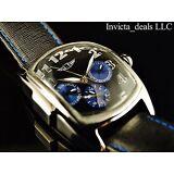 I by Invicta Mens 48mm Black & Blue Dial Technofiber Genuine Leather Strap Watch