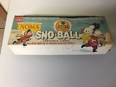 (VTG Christmas Snowball Lights Sno Ball NOMA GE LIFE Snow white frosted ornaments)