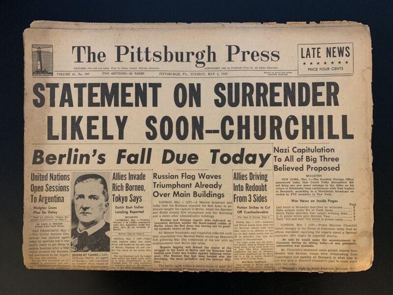 "Vintage 1945 WWII The Pittsburgh Press ""Statement on Surrender"" Newspaper"