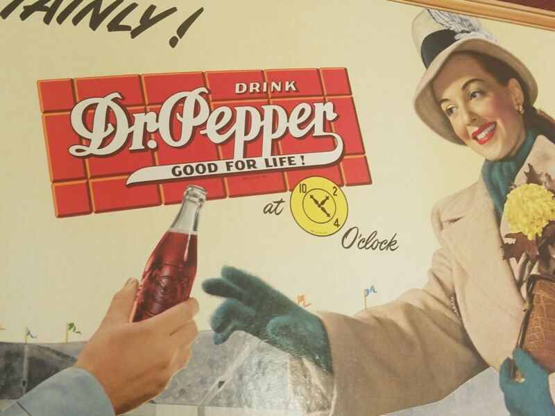 Vintage 1940's Dr. Pepper PinUp Girl Cardboard Sign - Very Rare 15x25