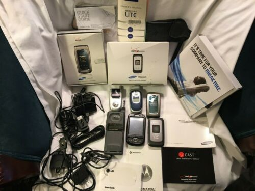 LOT 6 original used old cell Phones for collectors - chargers, boxes, etc