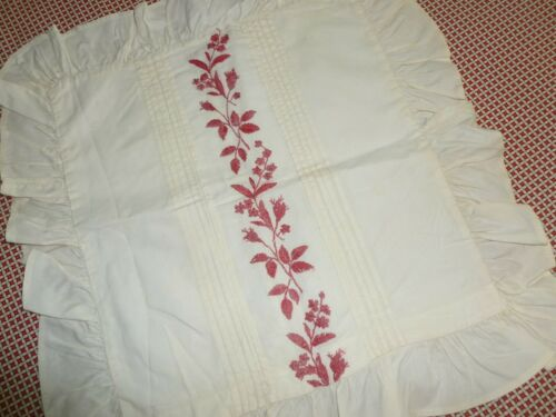 Victorian Pillow Sham Antique Pillowcase Vintage Red Work Hand Embroidery