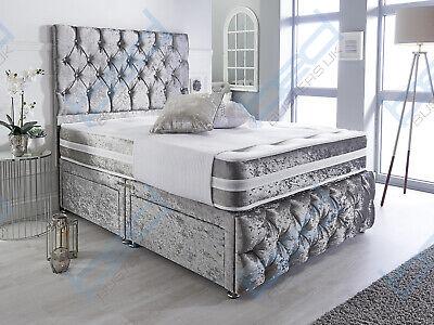 CRUSHED VELVET CHESTERFIELD DIVAN BED SET + MEMORY MATTRESS 4FT6 Double 5FT King