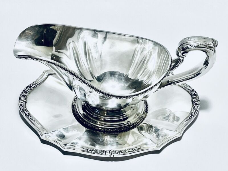Stunning Antique Sauce Boat Silver Plated With Tray By Reed & Barton Silver Co