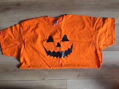 Men's Halloween Pumpkin Face T-Shirt Costume Orange Fruit Of The Loom - Fruit Of The Loom Kostüm