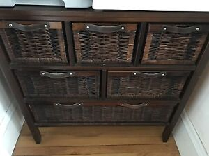 Dark Wicker Cabinet with lots of drawers