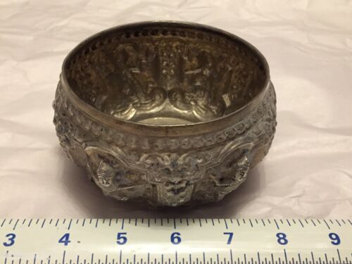 Vintage Burmese Siam Thai Solid Silver Bowl Repousse Asian Antique