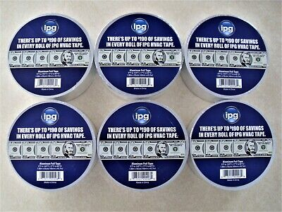 6 Rolls Ipg Aluminum Hvac Foil Tape 1.88 X 50 Yd High Tack Pressure Sensitive