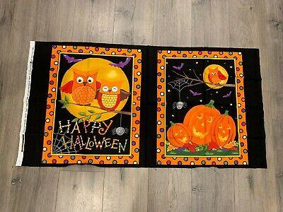 HAPPY HOWLOWEEN OWLS PUMPKINS SPIDERWEB HALLOWEEN FABRIC PANEL 23 X 43](Halloween Panel Fabric)