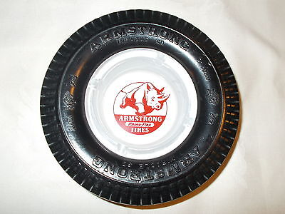 ARMSTRONG TIRE ASHTRAY WITH GLASS INSERT NO CHIPS OR CRACKS