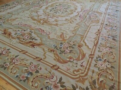 Elegant 10x14 French Aubusson Area Rug Oriental Beige Gold Green Rust  Green Gold Area Rug