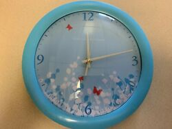 Blue Round Flower and Butterfly Wall Clock New