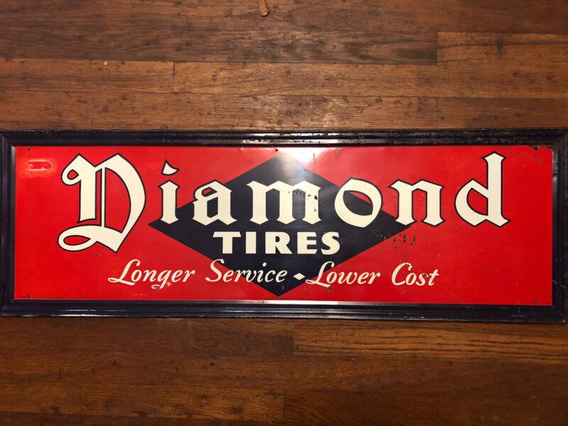 Original Diamond Tires Metal Sign Not Porcelain