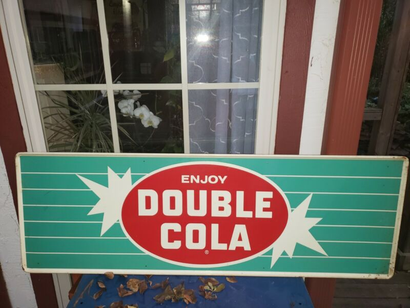 """VINTAGE DOUBLE COLA ADVERTISING SIGN 54X18"""" SELF-FRAMED SODA"""