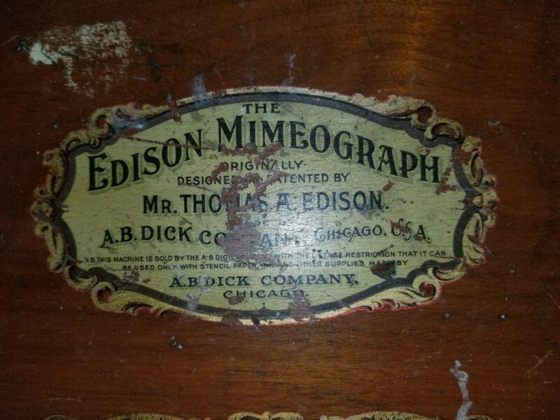 The Edison Mimeograph, Thomas A. Edison, A.B. Dick Company, Impression Papers