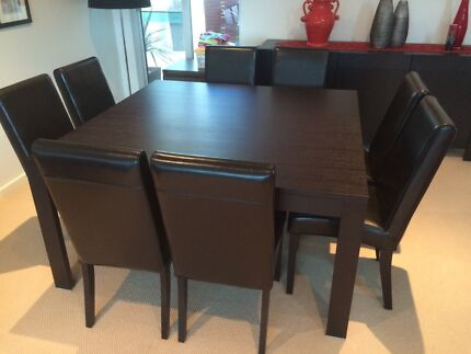 Timber square dining table with 8 leather chairs Maribyrnong Maribyrnong Area Preview