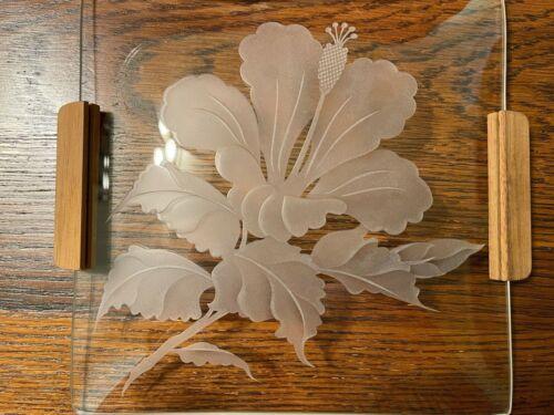 Beautiful Vintage Hawaiian Etched Dish Wooden Handles - Hibiscus