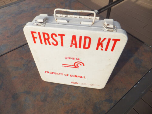 Vintage CONRAIL First Aid Kit In Metal Box With Full Contents
