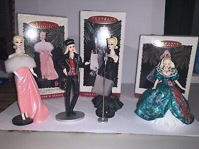 Barbie Hallmark Holiday Ornaments Set of 4 Lot, Harley Davidson, Etc..Christmas