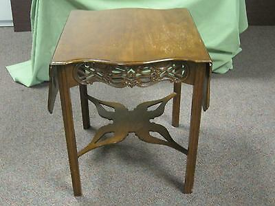 Baker Drop Leaf Dark Brown Wood Antique End Table Hand Carved Square Entryway