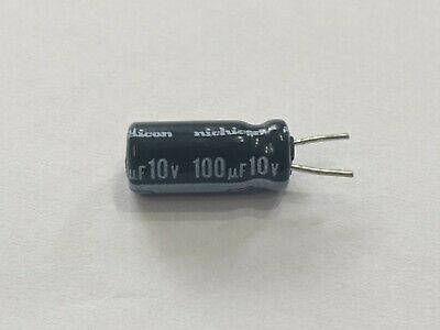 100uf 10v Capacitor Qty 50 Nichicon Electrolytic Hd Radial Pre-trimmed