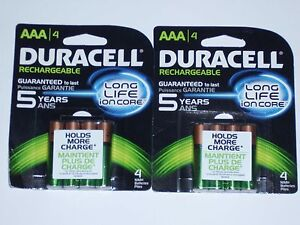 Eight Duracell AAA 800 mAh DX2400 NIMH 1.2 Volt Rechargeable batteries