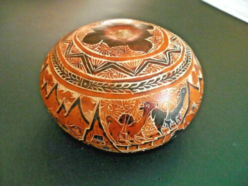 Peru Carved Small Gourd-Intricate Scenes-Stories Signed Maria C.J.-EXQUISITE !