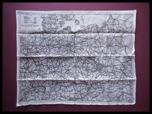 WWII Pilots RAF Silk Escape and Evasion Map Single Sided, Germany, SOE 1940s