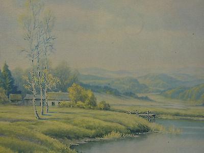 Berglanschaft Dorf am Fluss Gemälde (Öldruck) 92 cm x 62 cm Landschaftsmalerei