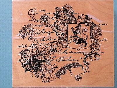 Ornate Floral/Text/Shield Collage RENASISSANCE ART Rubber Stamp Floral Collage Stamp