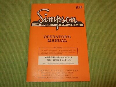 Simpson 260 Series 6 And 6m Volt Ohm Meter Operators Manual Warranty Card Ln