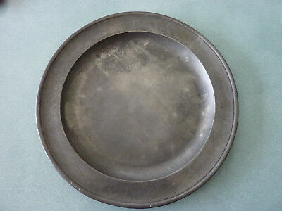 Antique pewter charger plate backstamp marked B&P London, Bush & Perkins