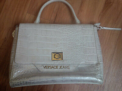 Authentic Versace Jeans Mock Croc White & Silver Satchel Bag IMMACULATE