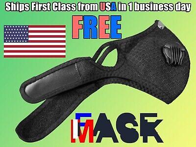 Black Face Mask With Reusable Carbon Filter Exhaust Valves Aluminum Nose