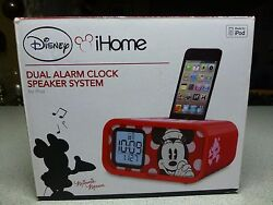Disney Dual Alarm Clock Speaker System Minnie Mouse New in Box