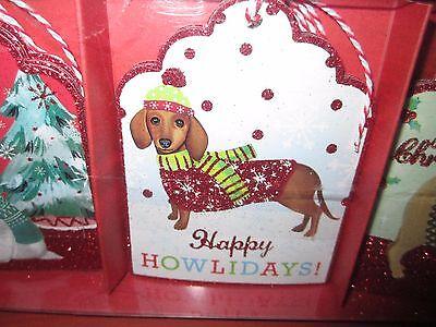 Christmas Holiday Die Cut Gift Tags DACHSHUND Dog Happy Howlidays! NEW