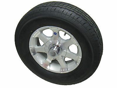 "06W ST 175/80R13 LRC 6 Ply Radial Trailer Tire 13"" 5 Lug Aluminum Trailer Wheel"