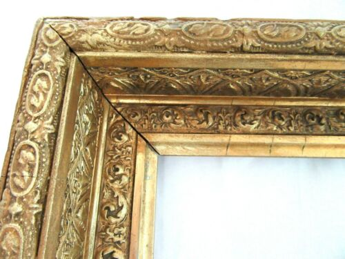 """ANTIQUE FITS 10 X12"""" GOLD PICTURE FRAME WOOD GESSO ORNATE FINE ART COUNTRY"""