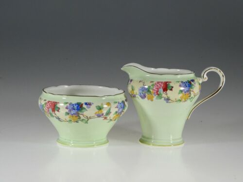 Aynsley Pale Green with Floral Garland Creamer and Sugar Set, England c. 1920