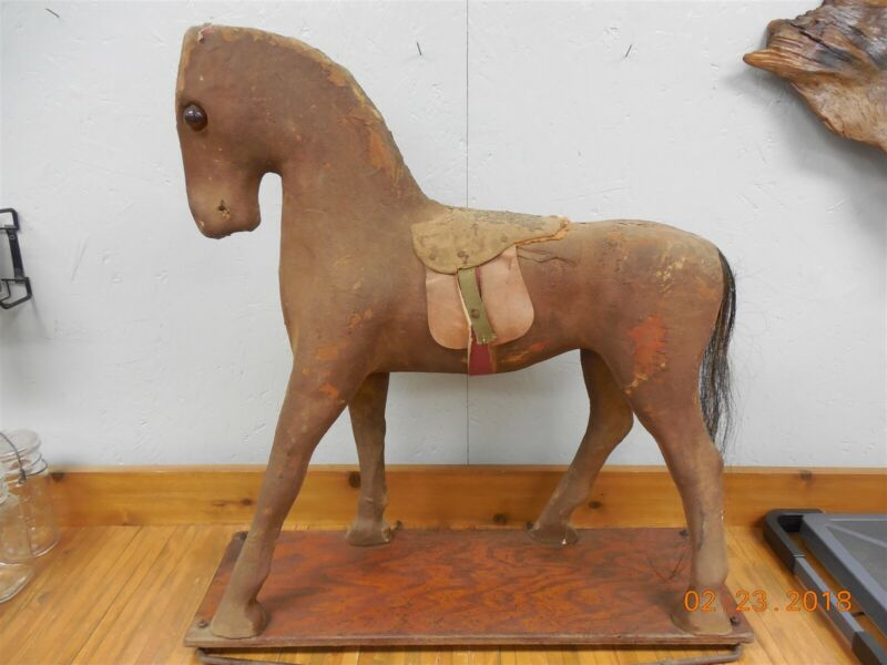 "Vintage Antique Large Composite Folk Art Toy Horse Mohair Pull Toy 29"" tall  @"