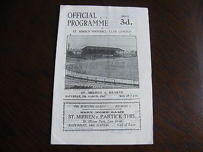 Saint mirren v Hearts 7/3/1964 scottish football programme