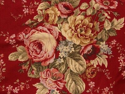 """WAVERLY BALLAD BOUQUET FLORAL RED PINK/GOLD SET OF CURTAINS 52"""" X 82"""" PER PANEL"""