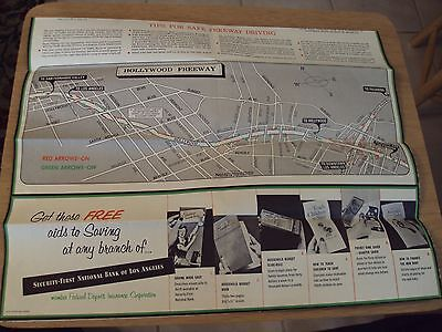 "RARE 1954 Los Angeles FREEWAYS Section Maps~""Arroyo Seco/HOLLYWOOD/Harbor""~"
