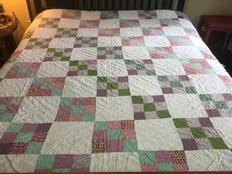 """Vintage Nine Patch Quilt In Pinks And Greens with Sawtooth Border, 81"""" X72"""""""