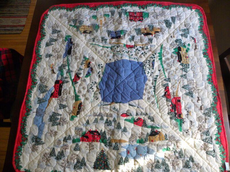 Homemade Quilted Christmas Table / Tree Skirt Reversible Winter Scene