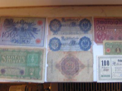 Konvolut alter Banknoten von 1908 bis 1923