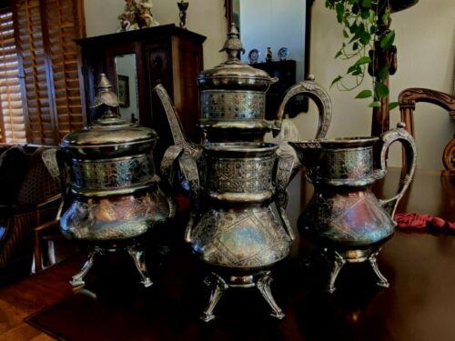 4 PIECES VINTAGE ETCHED WILCOX QUADRUPLE PLATE TEA SET, #150